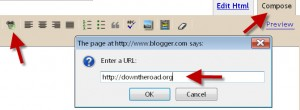 how to insert a hyperlink in a blogger blog post