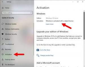 How to Find your Windows 10 Digital License
